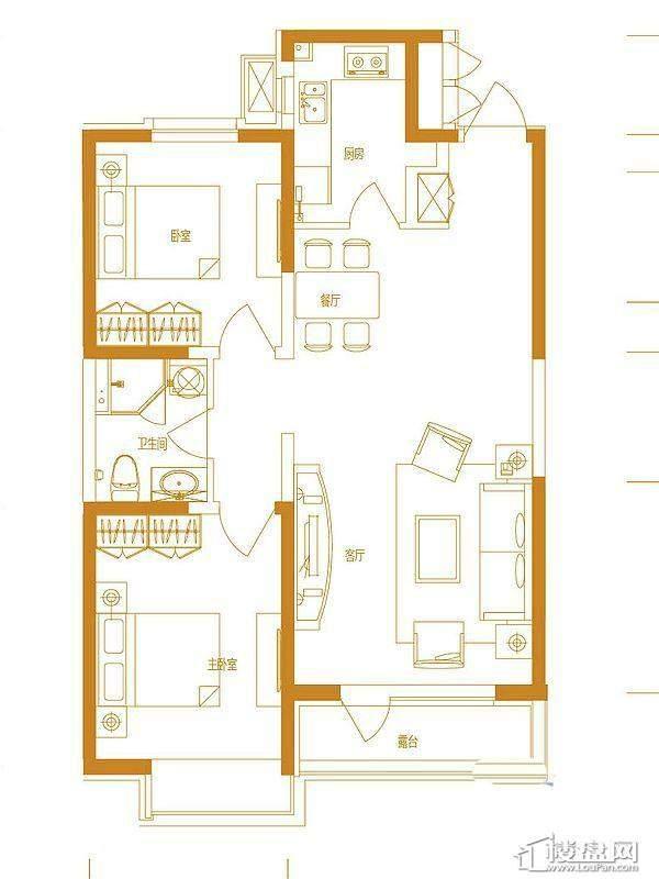 首创国际城三期5号楼-03户型2室2厅1卫