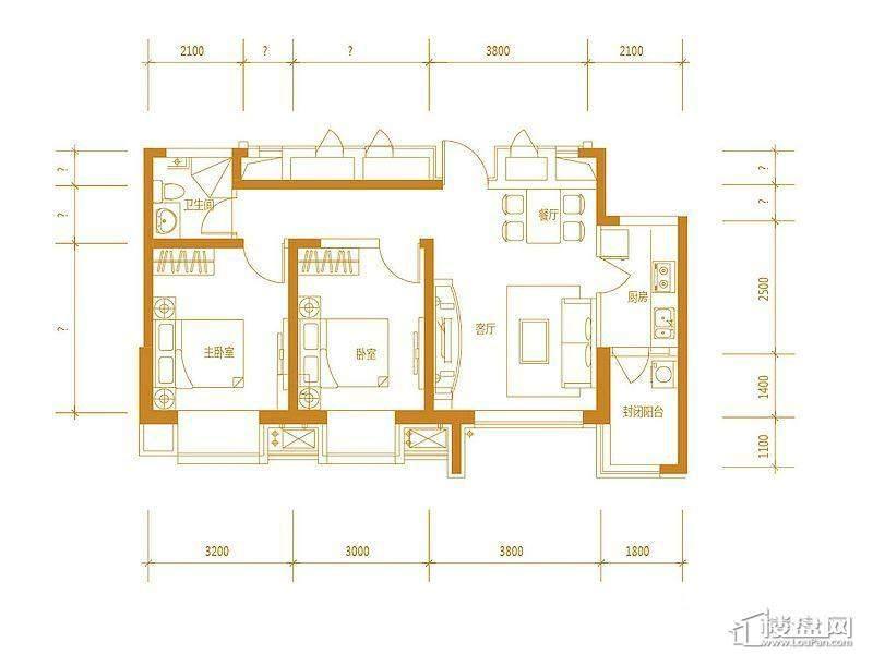 首创国际城三期7号楼-03户型2室2厅1卫
