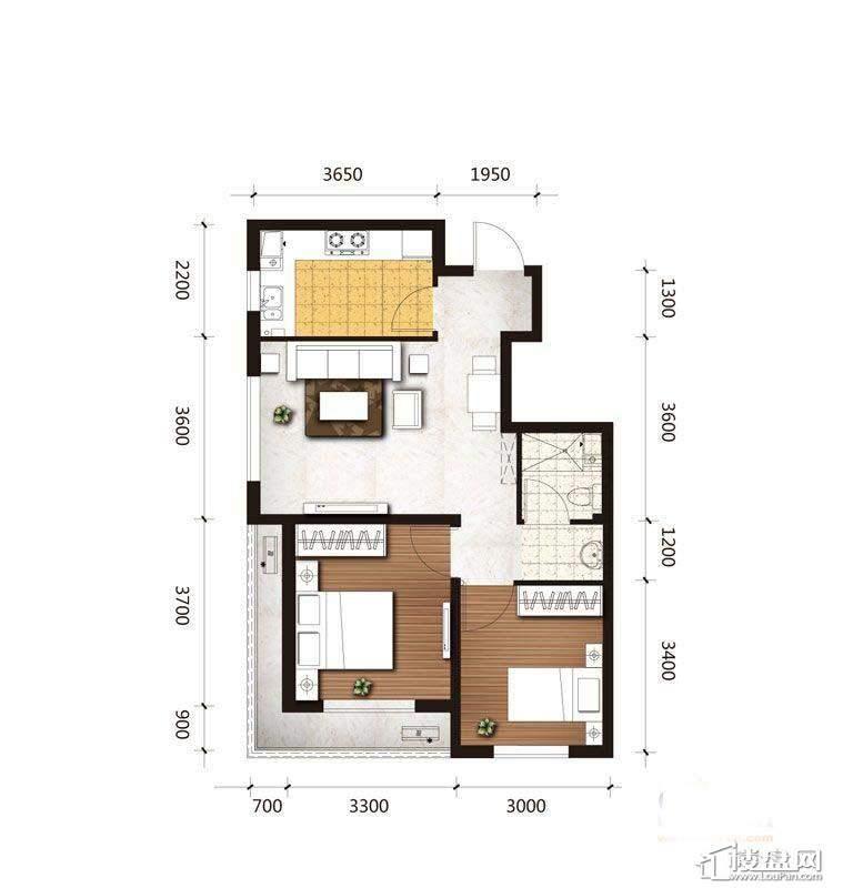 A2户型图2室2厅1卫