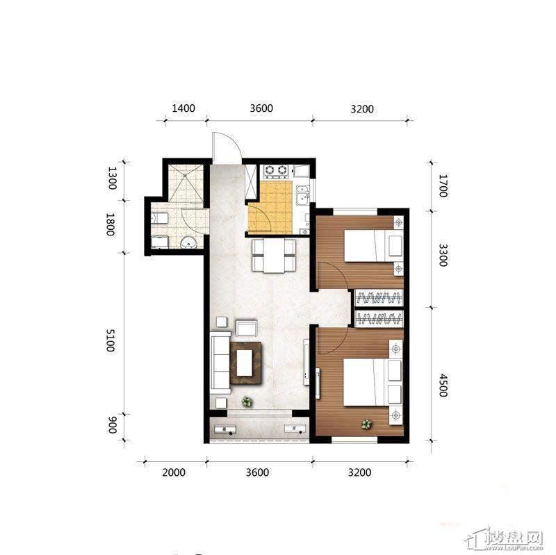 A3户型图2室2厅1卫