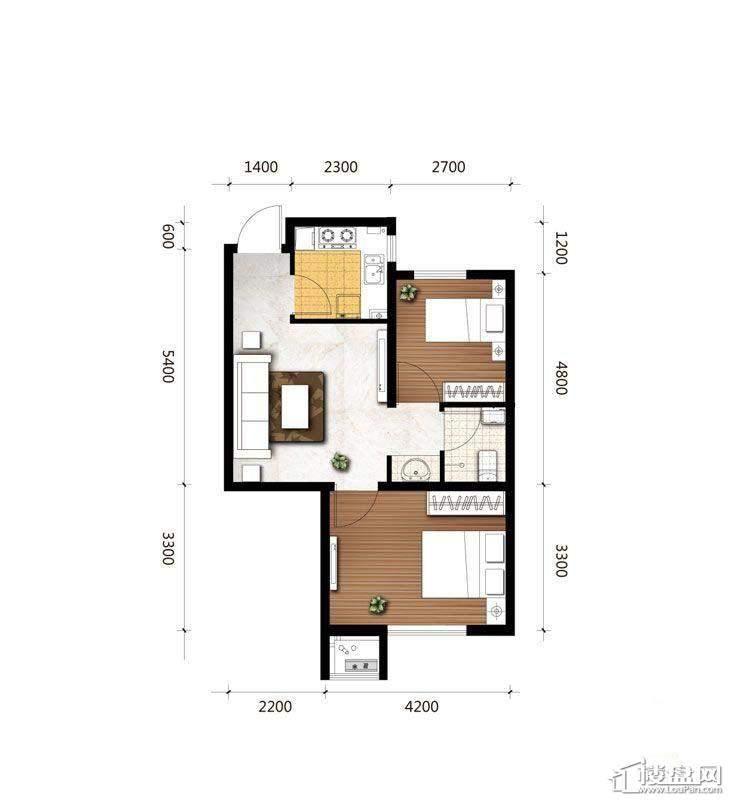 B1户型图2室1厅1卫