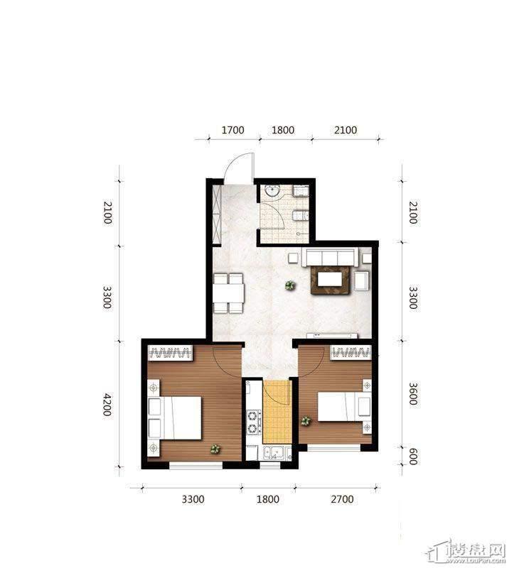 B2户型图2室2厅1卫