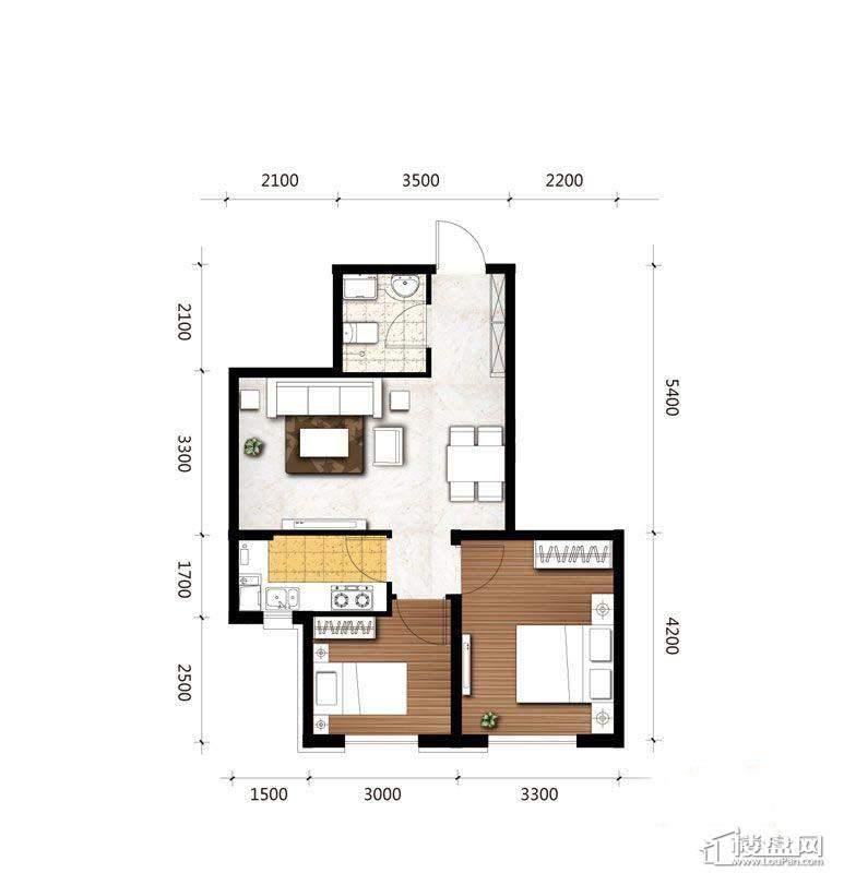B4户型图2室2厅1卫