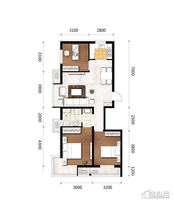 C1户型图3室2厅1卫