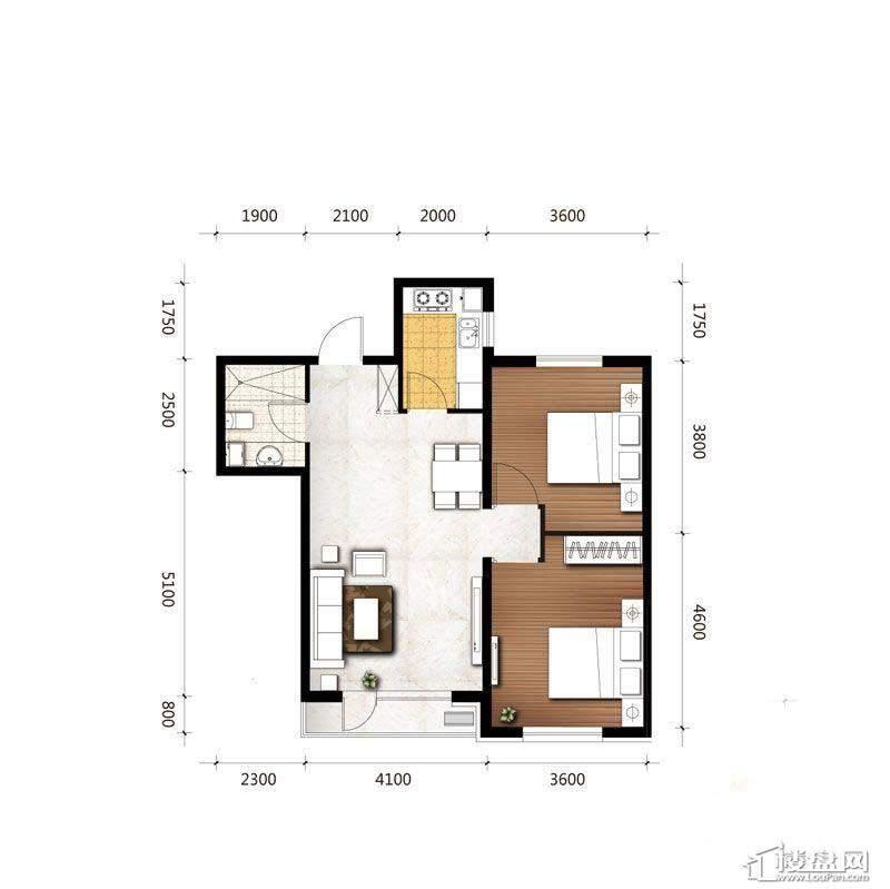 C2户型图2室2厅1卫