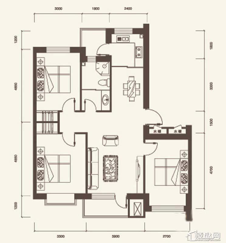 C户型2室2厅1卫