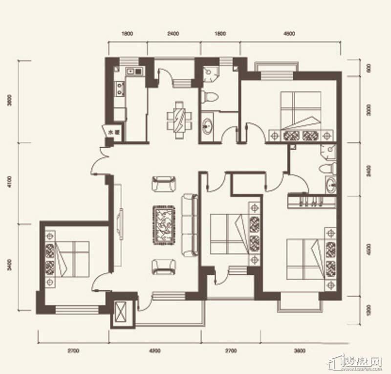 H户型1室1厅1卫