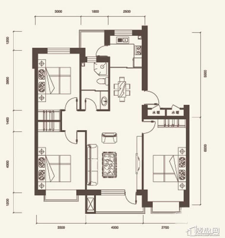 D户型2室2厅1卫