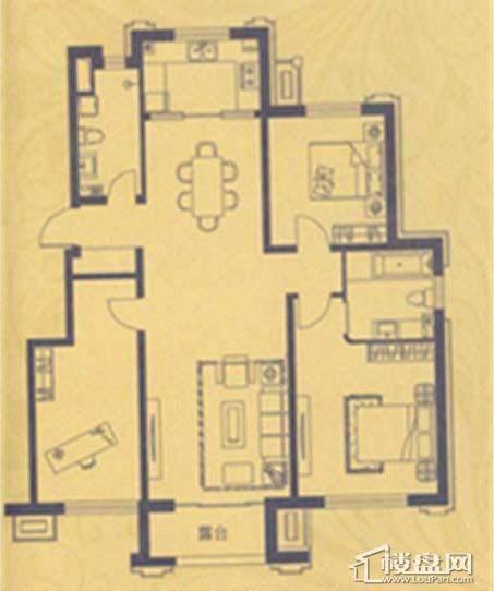荣盛·紫提东郡A14户型3室2厅2卫