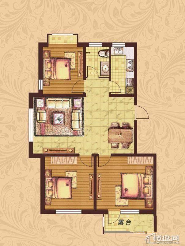 荣盛·紫提东郡B1-A户型图3室2厅2卫