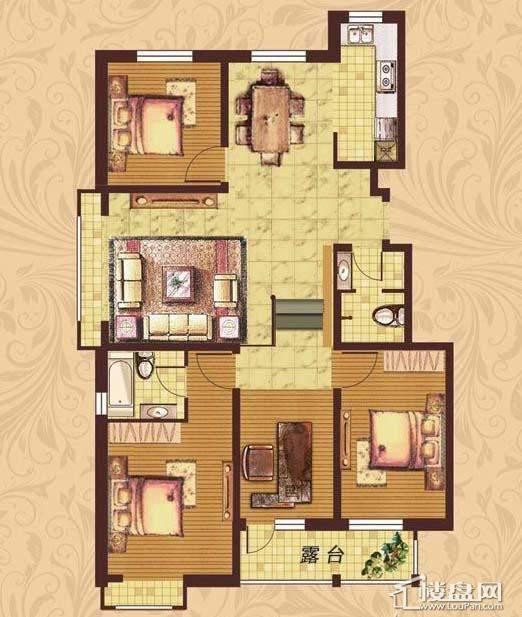 荣盛·紫提东郡B2-A户型图3室2厅2卫