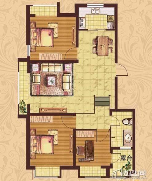 荣盛·紫提东郡B18-A户型图3室2厅1卫
