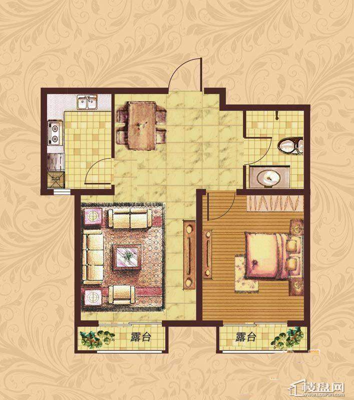 荣盛·紫提东郡B19-B户型图1室1厅1卫