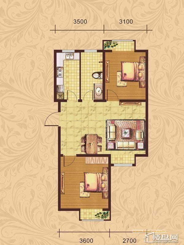 荣盛·紫提东郡B19-C户型图2室1厅1卫