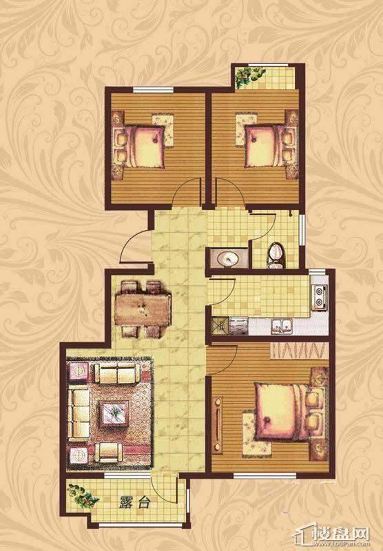 荣盛·紫提东郡户型图3室1厅1卫