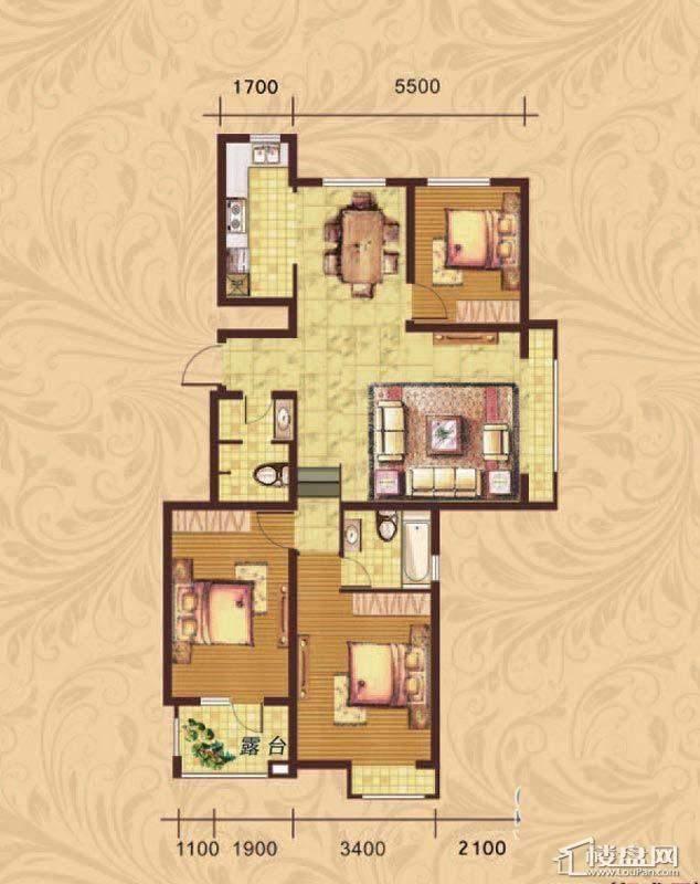 荣盛·紫提东郡新户型图户型图3室2厅2卫