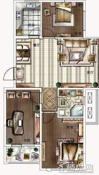 方大·胜景高层-A3户型图3室2厅1卫