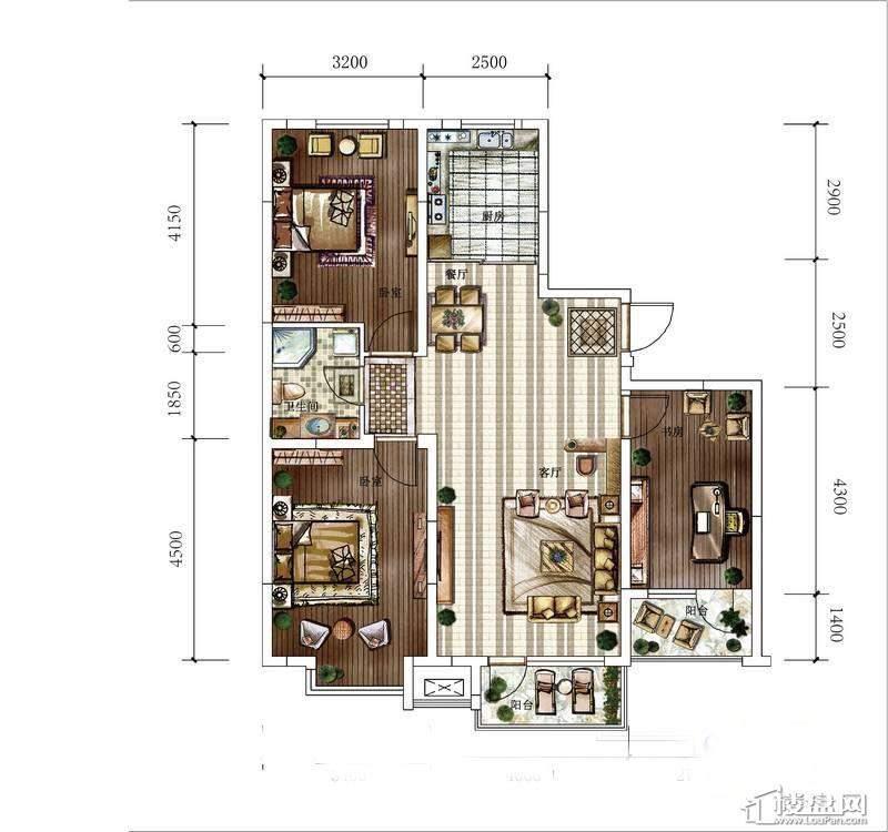 方大·胜景高层-A1户型图3室2厅1卫