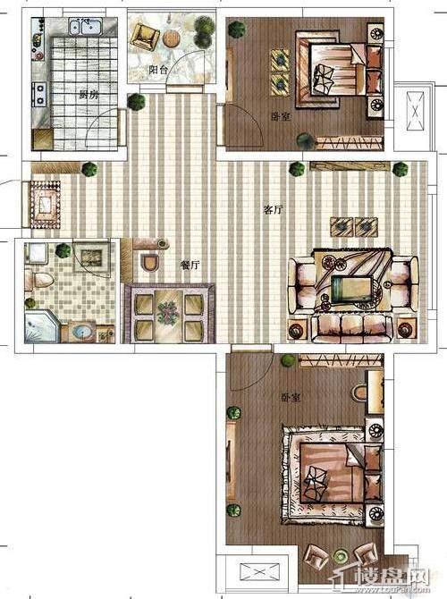 方大·胜景高层-A2户型图2室2厅1卫