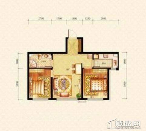 方大·胜景高层户型图2室2厅1卫