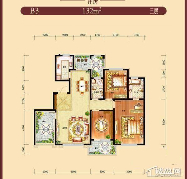 方大·胜景洋房B3户型图3室2厅2卫