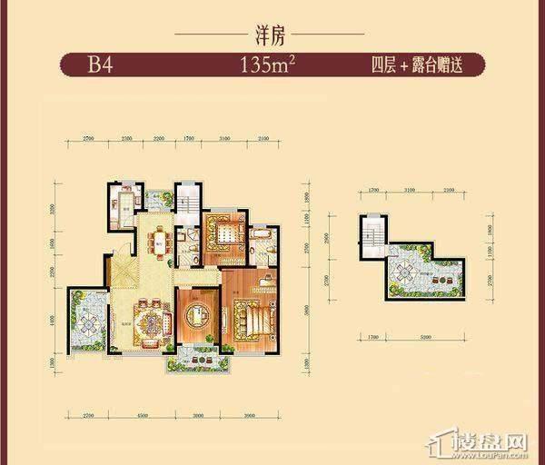 方大·胜景洋房B4户型图3室2厅2卫