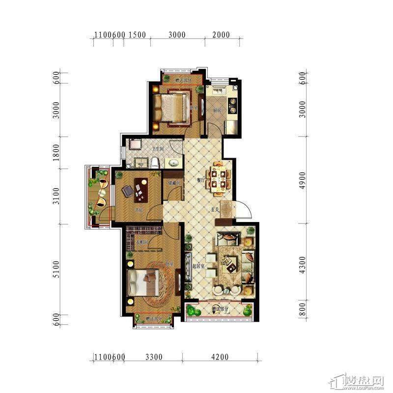 中铁丁香水岸洋房97平3室2厅1卫1厨