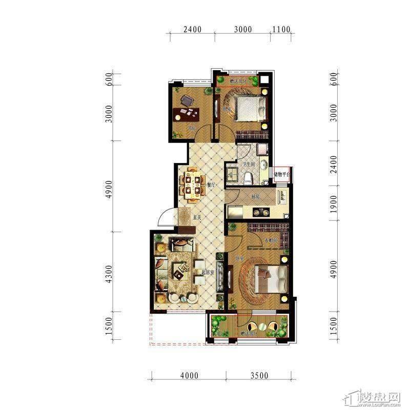 中铁丁香水岸洋房87平3室2厅1卫1厨