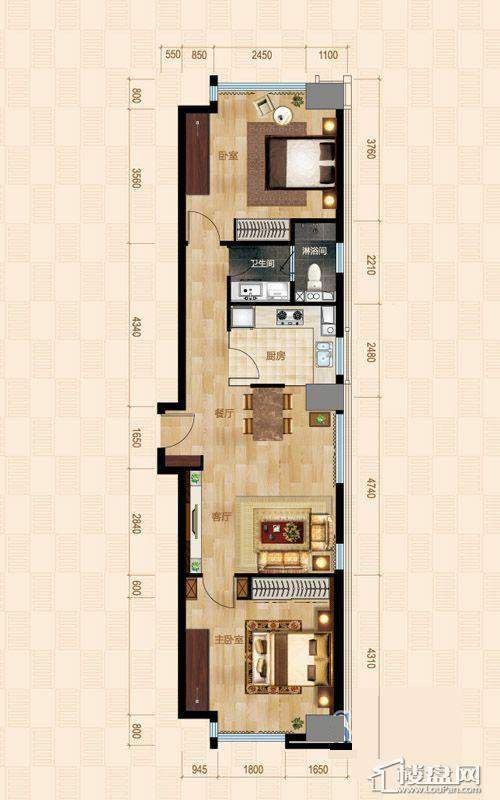 1号楼标准层D户型