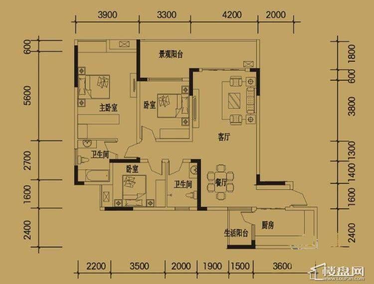 三期4-11号楼标准层I户型