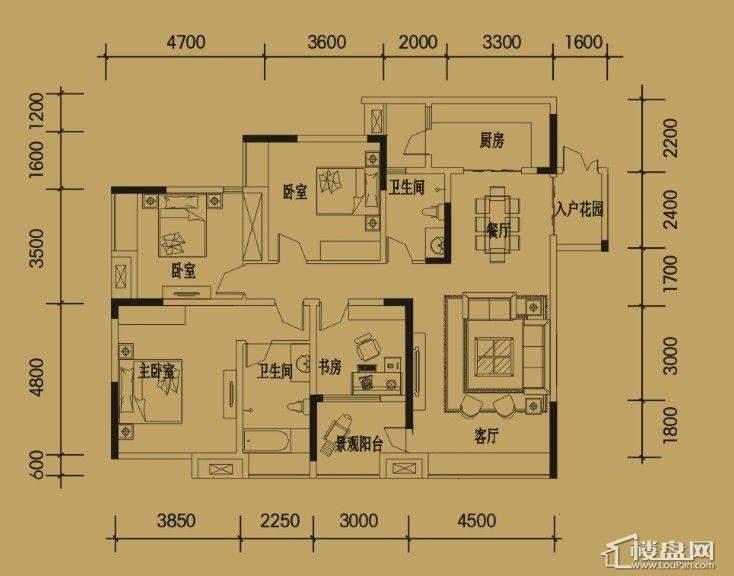 三期4-11号楼标准层B户型