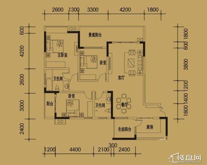 三期4-11号楼标准层D户型