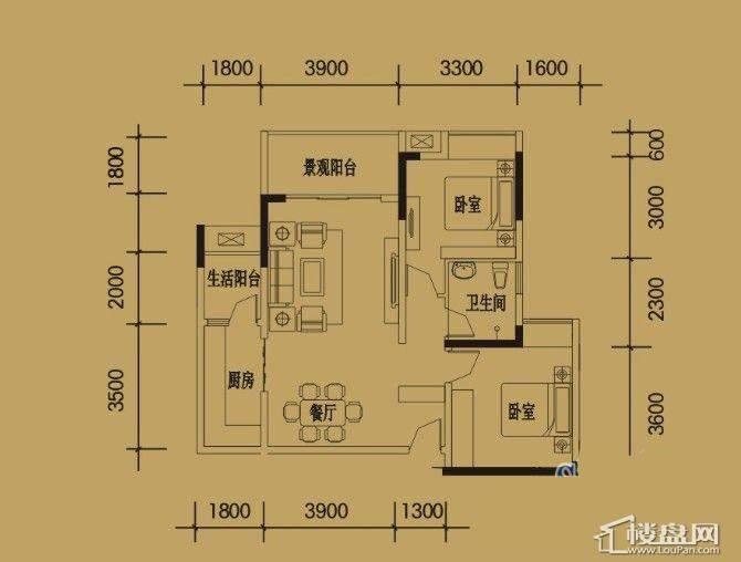 三期4-11号楼标准层E户型