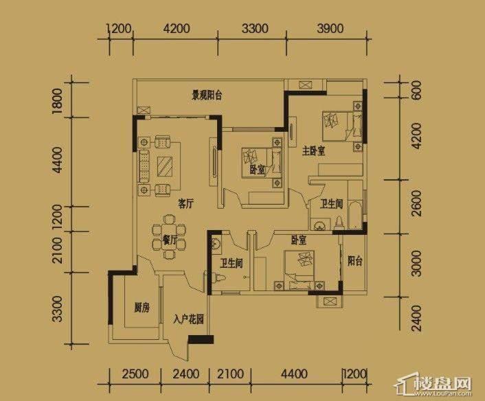 三期4-11号楼标准层F户型