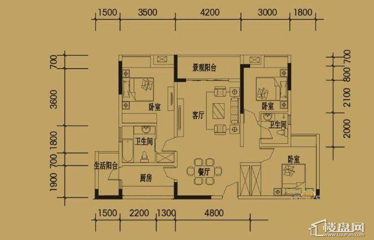 三期4-11号楼标准层H户型