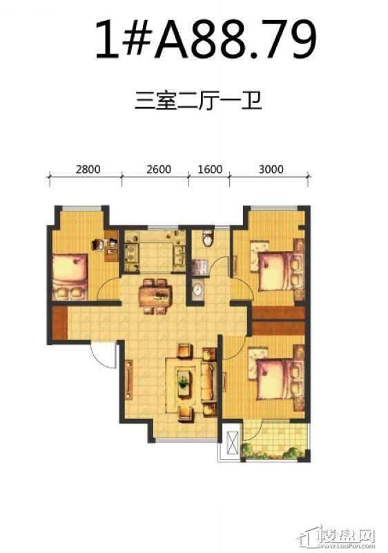 荣盛·锦绣天地1#A户型图3室2厅1卫