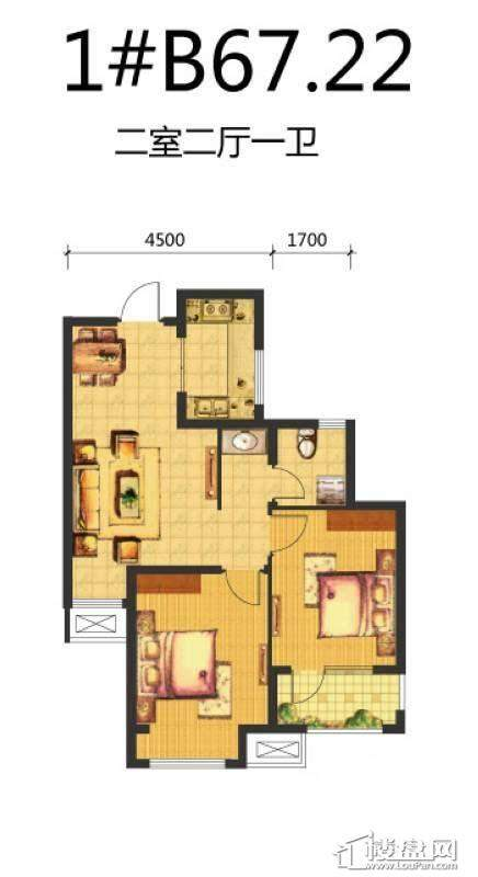 荣盛·锦绣天地13#B户型图2室2厅1卫