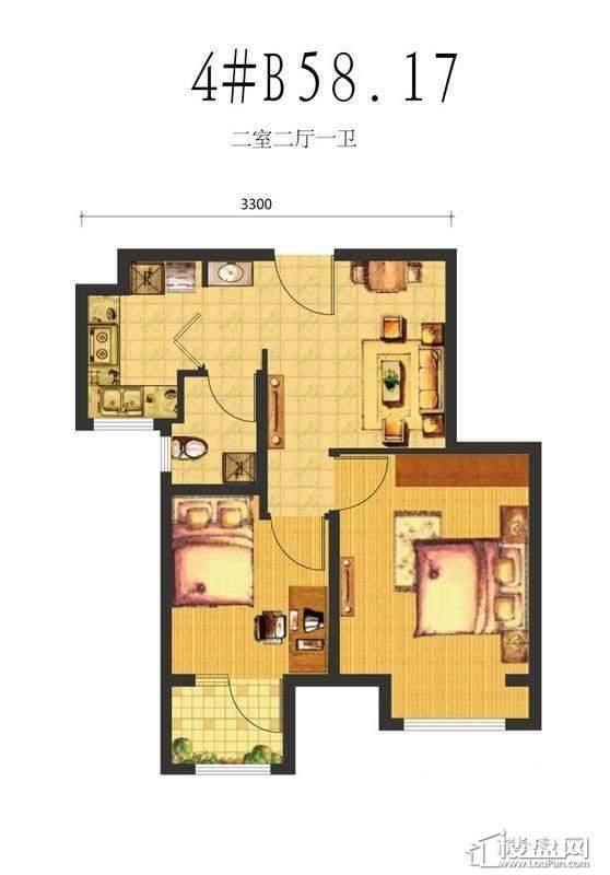 荣盛·锦绣天地4#B户型图2室2厅1卫