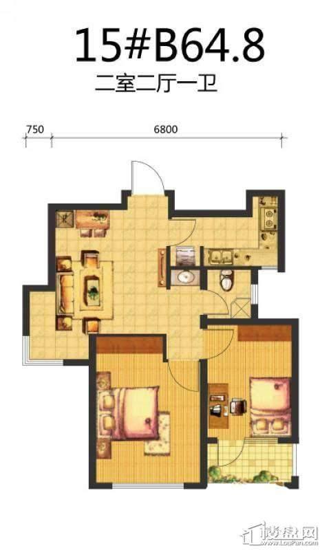 荣盛·锦绣天地15#B户型图2室2厅1卫