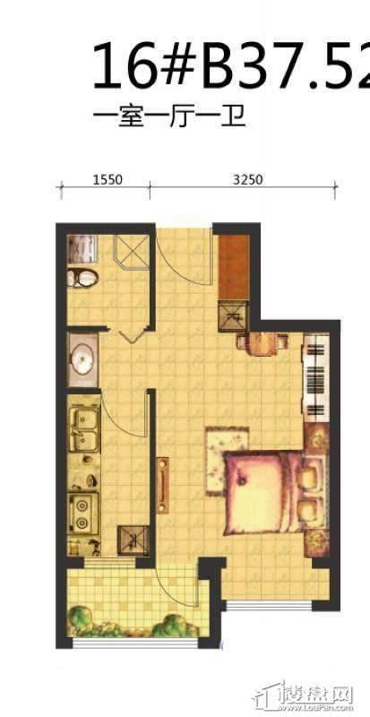 荣盛·锦绣天地16#B户型图1室1厅1卫