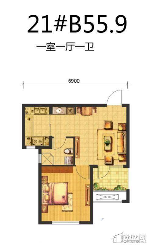 荣盛·锦绣天地21#B户型图1室1厅1卫