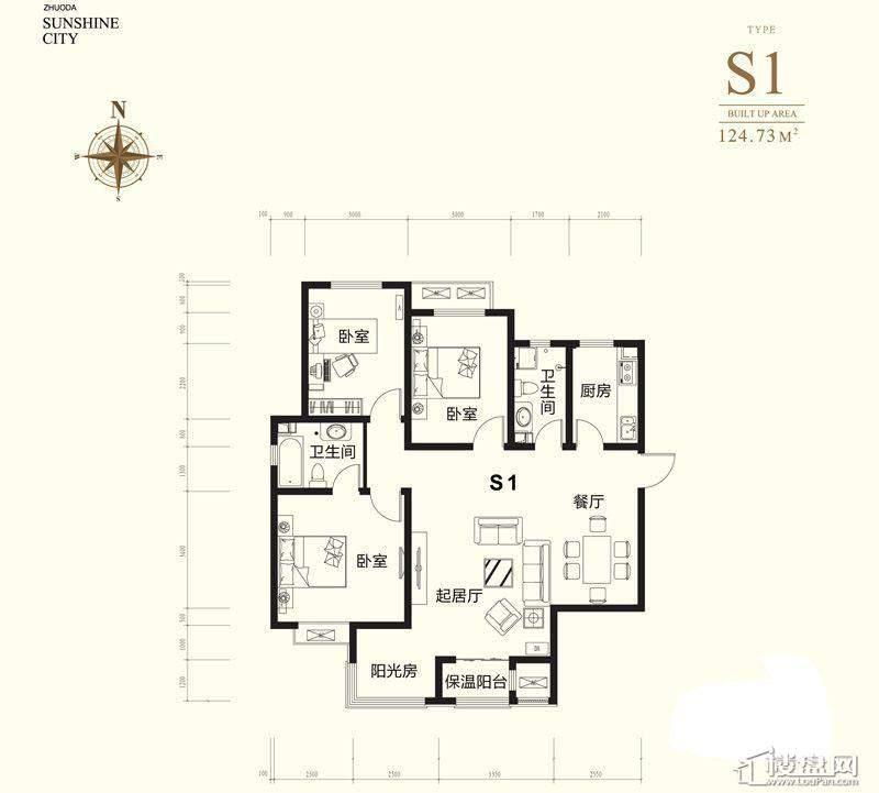 小高层标准层S1户型图