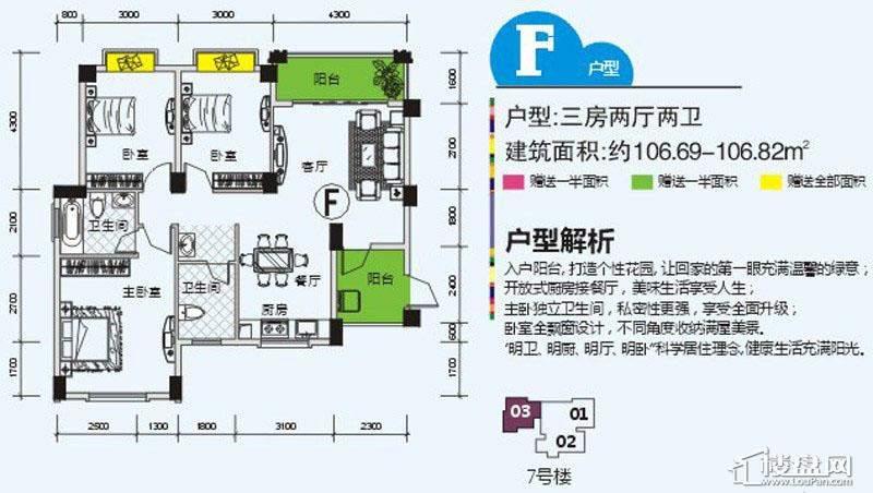 南宁奥园户型图106.8