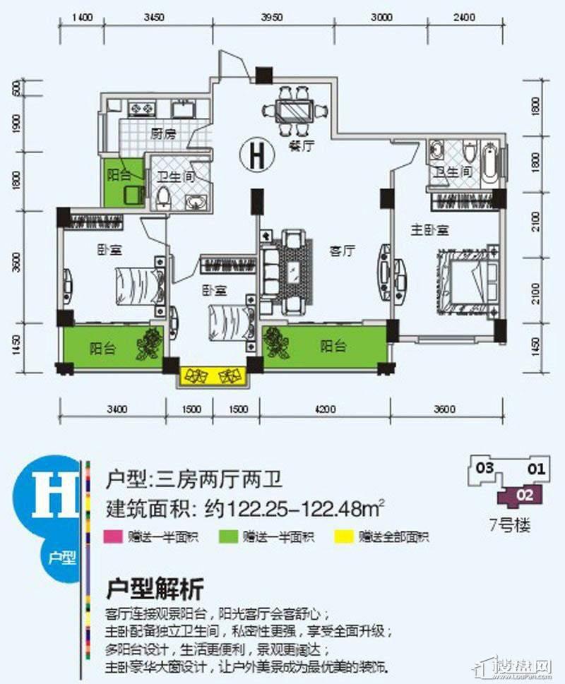 南宁奥园户型图122.4
