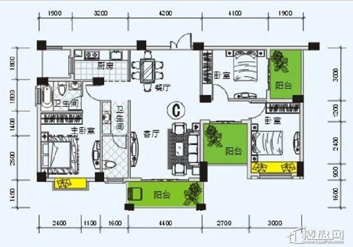 南宁奥园户型图123.9