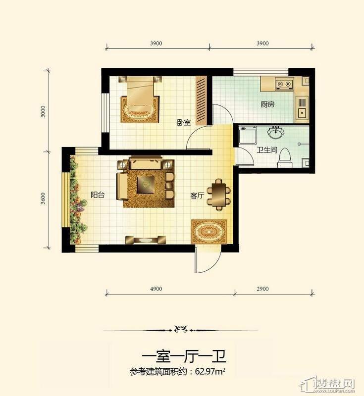 宇光万和城1号楼户型图1室1厅1卫1厨
