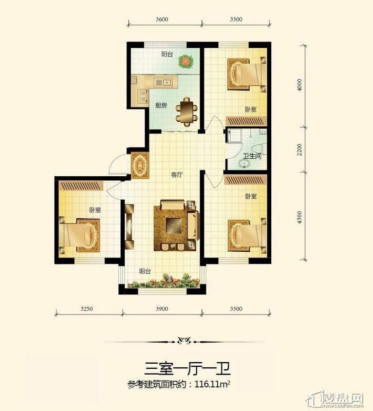 宇光万和城1号楼户型图3室1厅1卫1厨