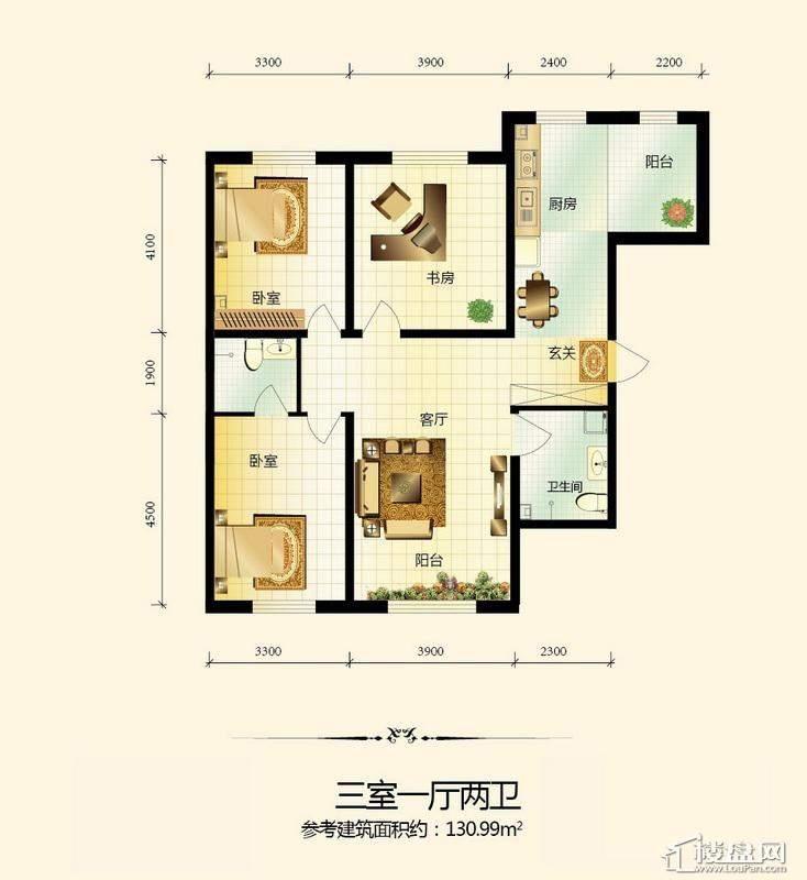 宇光万和城1号楼户型图3室1厅2卫1厨