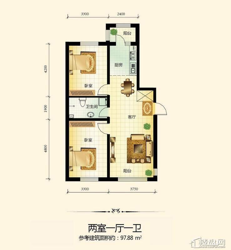 宇光万和城2号楼户型图2室1厅1卫1厨