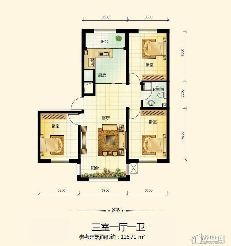 宇光万和城2号楼户型图3室1厅1卫1厨